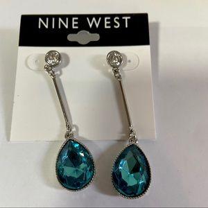 Nine West Silver Blue Teardrop Crystal Dangle ER